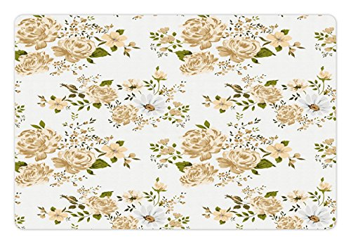 Ambesonne Flowers Pet Mat for Food and Water, Gardening Theme Floral Design Vector Illustration of Roses Botany Inspired, Rectangle Non-Slip Rubber Mat for Dogs and Cats, White and Beige