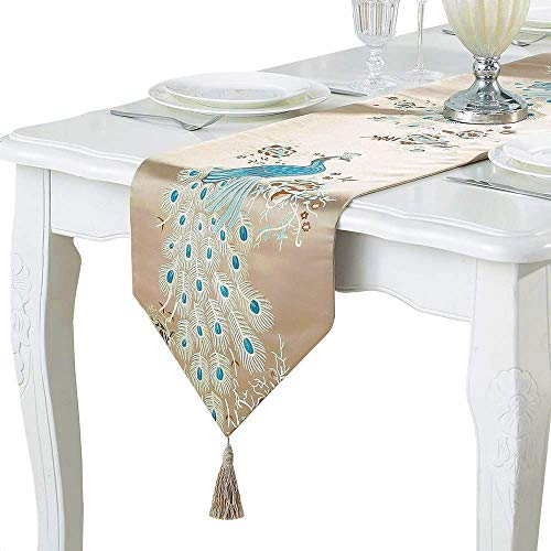 (PHNAM Embroidery Peacock Table Runners with Tassel 13 x 83 Inches Non Slip Rectangle Table Runner for Wedding Decorations (Coffee, 13 x 83)