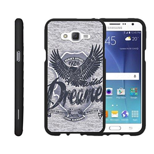 TurtleArmor | Compatible for Samsung Galaxy J7 Case (2015) | J700 [Slim Duo] Slim Snap On 2 Piece Hard Cover Protector Matte Unique Designs on Black - Wild Eagle (Protector Dreamer Design)
