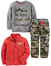 Toddler Boys' 3-Piece Fleece Jacket, Long-Sleeve Shirt, and Woven Pant Playwear Set