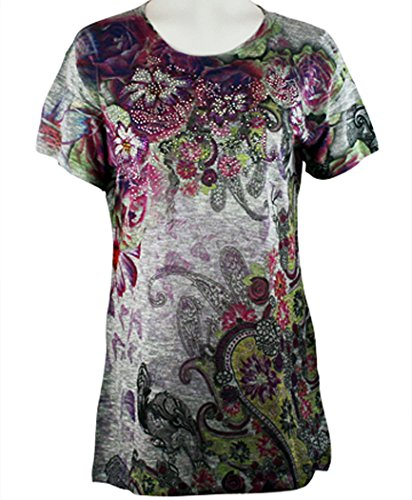 Cactus Fashion - Fantastic Paisley, Short Sleeve, Rhinestone Studded, Artfully Printed, Sublimation Top