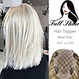 Full Shine High Density Topper Hairpiece Hidden Crown Hair Toppers 14 Inch Color #60 Platinum Blonde Hair Piece Clips For Women Brazilian Human Hair 6.5x2.25' 47g