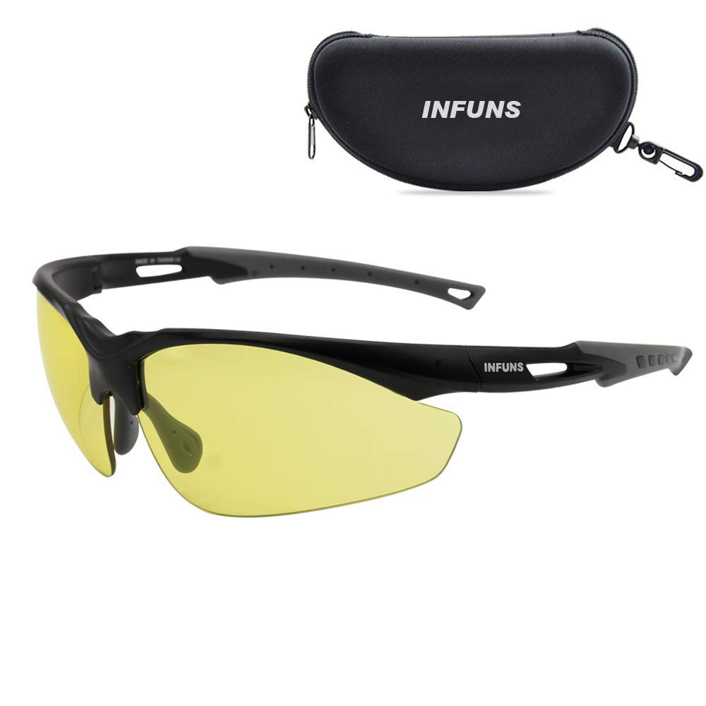 Anti Fog Yellow Safety Glasses with Cases - UV 400 Protection Protective Eyewear Ansi Z87.1 with Yellow Lens Infuns