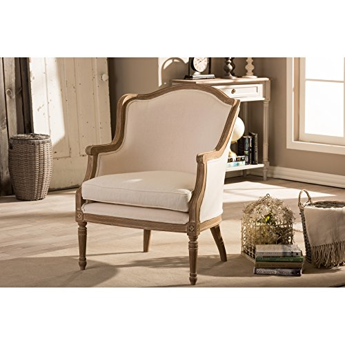 Baxton Studio Charlemagne Traditional French Accent Chair, Oak
