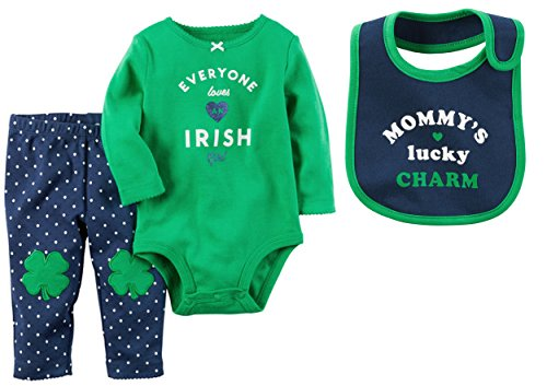 Carters My First St. Patricks Day Clover 3 Piece Set: Long Sleeve Bodysuit, Pants and Bib Set (6 Months, Everyone Loves An Irish Girl)