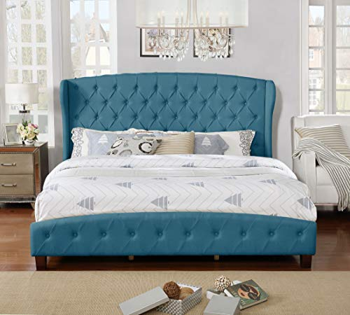 Upholstered Button Bed Five - NHI Express 55012-85BL Jayce Bed King Blue
