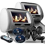"Gray Dual LED Digital 9"" Headrest Dvd Players Monitors USB SD With Zipper Covers & Wireless Headphones"