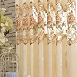 WINYY Embroidery Floral Curtain for Villa Hotel Cafe Grommets Rings Top Window Drape