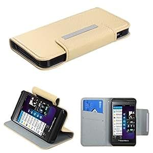 Monedero MyBat superior del estilo del libro MyJacket con ranura para tarjeta para Blackberry Z10 - empaquetado al por menor - Blanco