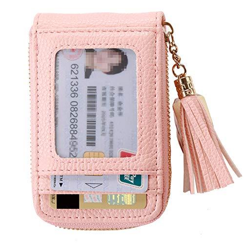 Womens Credit Card Holder RFID Blocking Leather Zipper Accordion Tassels Wallet Card Organizer Travel Wallets