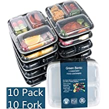 [10 Pack]3 Compartment Meal Prep Food Storage Containers with Lids/BPA Free Bento Lunch Boxes/Divided Portion...