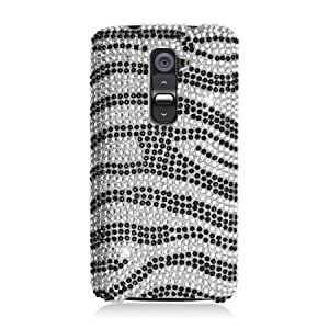 Bloutina Eagle Cell Diamond Protector Case for LG G2 - Retail Packaging - Black and Silver Zebra