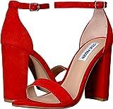 Steve Madden Women's Carrson Heeled Sandal, Red Suede, 10 M US