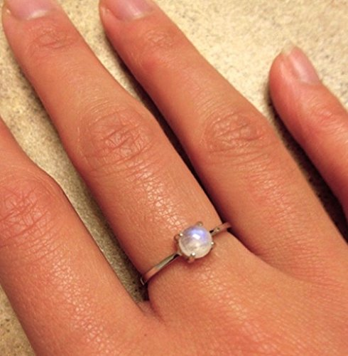 Tiny Smooth Moonstone Ring- June Birthstone Ring- Round Rainbow Moonstone Ring- Stackable 4 Prong Midi Ring- Boho Gypsy Sterling Silver Ring (4 Prong Bezel)