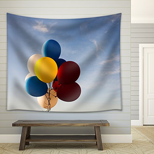 Colorful Balloons Flying in the Air Fabric Wall Tapestry