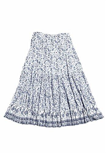 Skirt Woven Waist Elastic (Ellos Women's Plus Size Printed Long Tiered Skirt Navy Print,20)