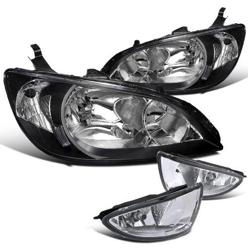 Honda Civic Dx Lx Ex 2 4 Dr Coupe Sedan, Blk Housing Headlights, Clear Fog Lamps (2005 Honda Civic Lx Coupe)