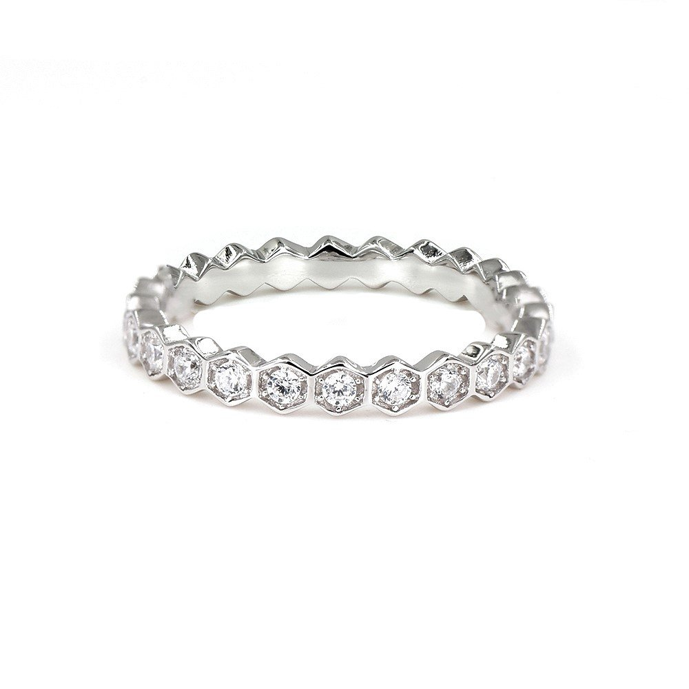 espere Womens Sterling Silver Eternity Band With AAA CZ 18K Plating Beehive Ring Weddings Bands 1.8mm Width (9)