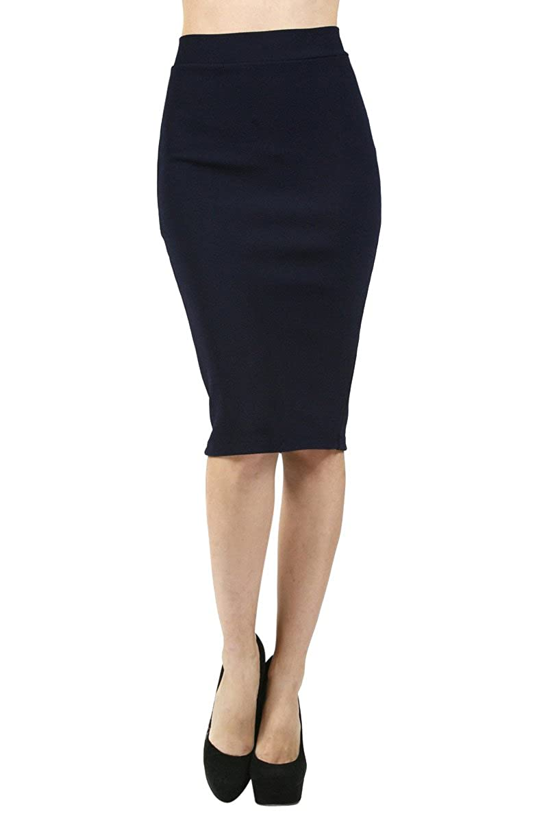 The Lovely Career High Waist Straight Pencil Bodycon Midi Knee Length Slim Skirt