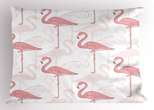 Lunarable Flamingo Pillow Sham, Standing Flamingos Pattern Holiday Jungle Hawaii Wildlife Illustration, Decorative Standard Queen Size Printed Pillowcase, 30 X 20 inches, Light Pink and White by Lunarable