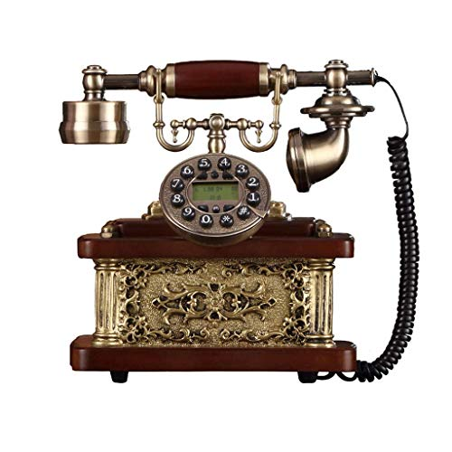 23 Fixed Lcd Wall Mount - XF Fixed Telephone - Antique Telephone Wired Telephone, Creative Metal Solid Wood Retro Fixed Telephone, Button Dialing Classic Metal Ringtone Fixed Telephone (Size 24X23CM) //