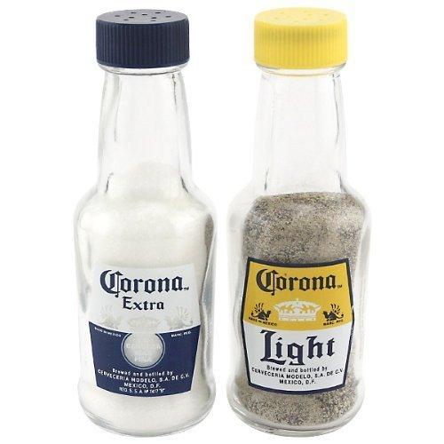 (Corona Mini 2 oz Glass Replica Bottle Salt and Pepper Shakers)