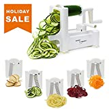 zucchini lasagna noodle maker - 5 Blade Spiralizer - Spiral Slicer, Vegetable Maker, Shredder ! Makes Zucchini Noodles, Veggie Spaghetti, Pasta, and Cut Vegetables in Minutes. Includes Blade Storage Box!