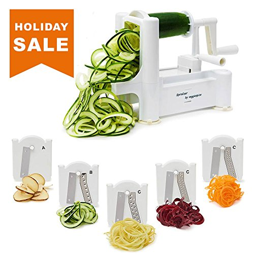 5 Blade Spiralizer - Spiral Slicer, Vegetable Maker, Shredder ! Makes Zucchini Noodles, Veggie Spaghetti, Pasta, and Cut Vegetables in Minutes. Includes Blade Storage (Spiral Maker)