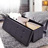 Black Leather Ottoman for Sale Giantex 45