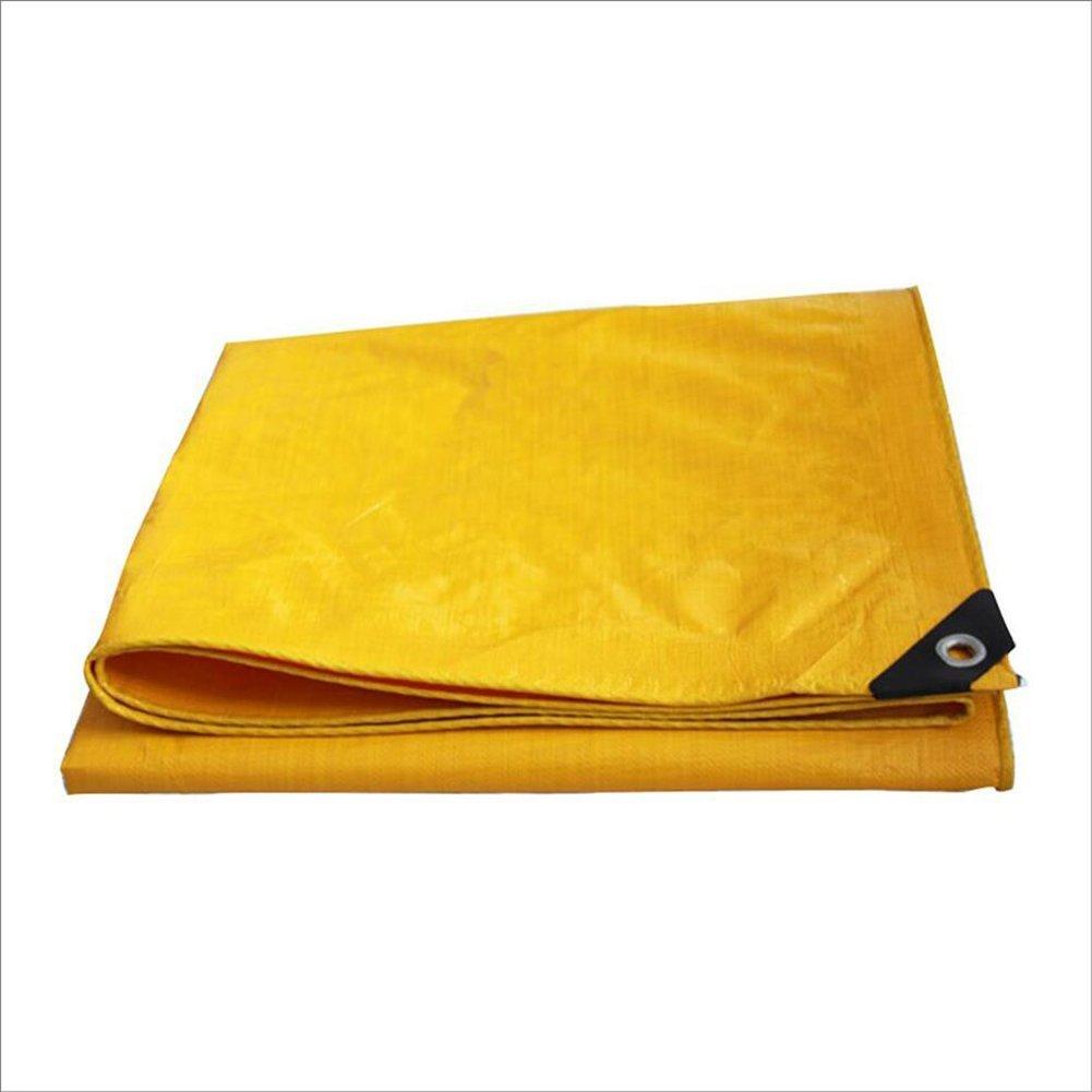 QINCH Regenschutztuch wasserdicht Wasserdichte Plane, gelbe regenfeste Sonnenschutzplane, LKW-Plane im Freien Sonnenschutz staubdicht und Winddicht (Farbe   Gelb, Größe   6x10M)