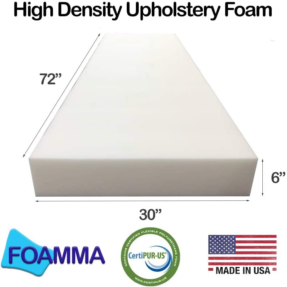 FOAMMA 0.5 x 30 x 72 High Density Upholstery Foam Cushion Made in USA!! Seat Replacement, Upholstery Sheet, Foam Padding