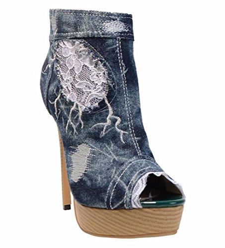 EUR35UK3 BLUE Printemps Été Sandales Poisson Bouche Haut Chaussures Bottes NVXIE Automne Cheville Stiletto Denim Lace Femmes Talon de gagRTwBq