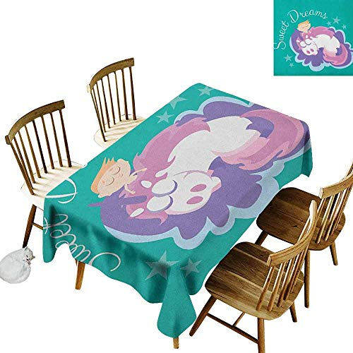 DONEECKL Sweet Dreams Oil-Proof Tablecloth Seamless Design Cartoon Fantastic Horse with a Horn Mythical Creature Sleeping Next to a Boy Multicolor W60 xL84