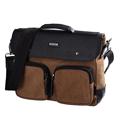 "Douguyan 15"" Laptop Messenger Bag Canvas Leather Messenge..."