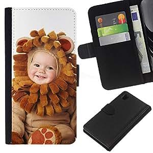 Planetar® Modelo colorido cuero carpeta tirón caso cubierta piel Holster Funda protección Para Sony Xperia Z1 / L39h / C6902 / C6903 ( Cute Baby Wear )