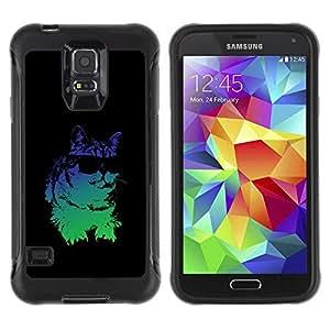 All-Round híbrido Heavy Duty de goma duro caso cubierta protectora Accesorio Generación-II BY RAYDREAMMM - Samsung Galaxy S5 SM-G900 - Cat Sunglasses Psychedelic Neon Art Drawing