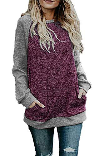 (CHYRII Women's Casual Long Sleeve Loose Tunic Blouse Shirt Tops Crewneck Sweatshirt Purple + Grey M)