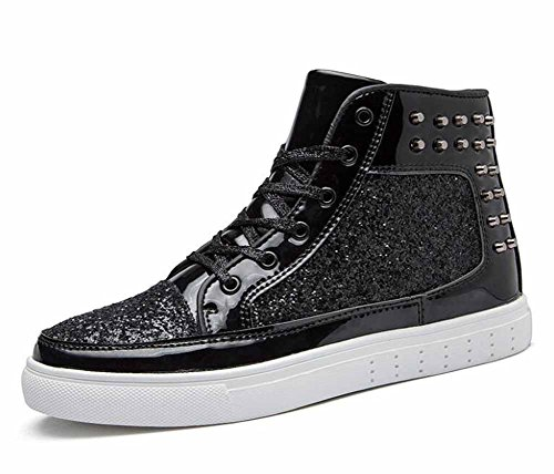 Mode Planche Roulettes Hi Rivets Rock top De Chaussures Noir Plates Sneakers Unisexe Femmes Et Punk Hommes La Couple q7vw6gzw
