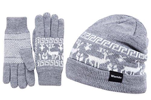 Wantdo Women's Outdoor Soft Double Layer Fleece Lined Beanie Knit Hat Gloves Set with Elks Pattern ()