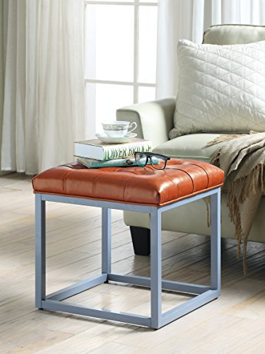 Cheap Iconic Home Newman Modern Tufted Orange Leather Metal Frame Square Cube Ottoman
