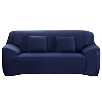 Superieur Couch Cover Stretch Spandex Sofa Slipcover Fitted 3 Cushion Couch Protector  (Blue)