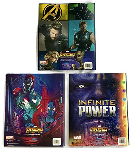 Avengers Infinity War School Supplies Set of 3 Poly Portfolio Folders (3 Prong)