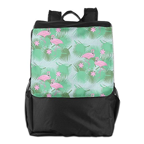 Storage Dayback Camping Pink Flmaingos with Strap Women Outdoors Leaves Shoulder Green School Adjustable and for Men Backpack Travel HSVCUY Personalized 61ZBB