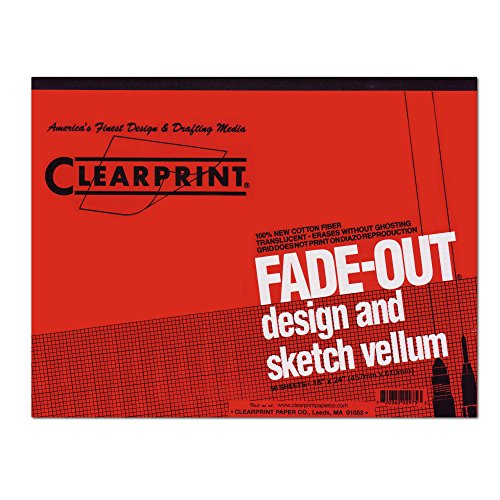Clearprint 1000H Design Vellum Pad with Printed Fade-Out 4x4 Grid, 16 lb, 100% Cotton, 18 x 24 Inches, 50 Sheets, Translucent White, 1 Each (10004422) by Clearprint (Image #1)