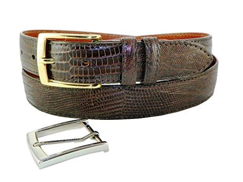 Genuine Lizard Belt with 2 Classic Buckles by Charles Underwood - Chocolate, Size 36 (Lizard Genuine Belt)