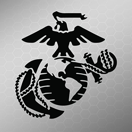 Marine Corps Emblem Vinyl Decal Sticker | Cars Trucks Vans Walls Laptops Cups | Black | 5.5 X 5.2 Inch | (Marine Corp Tattoo)
