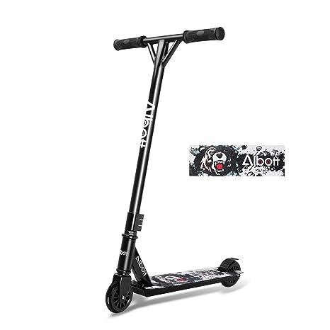 Albott Patinete para Niña Niño y Adultos Patineta de Trucos Freestyle Profesional Aluminio Scooter con 2 Ruedas Barra de T