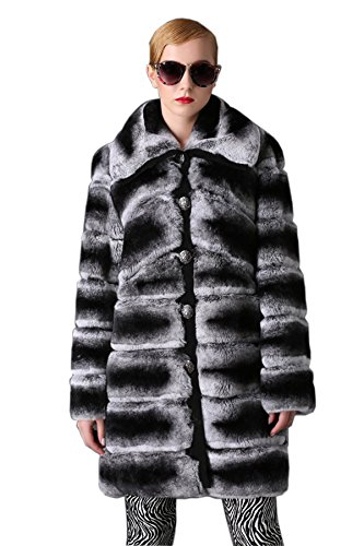 [MEEFUR Real Fur Coats for Women Long Chinchilla Color Rex Rabbit Fur Overcoats (Chinchilla, US4)] (Chinchilla Fur Coat)