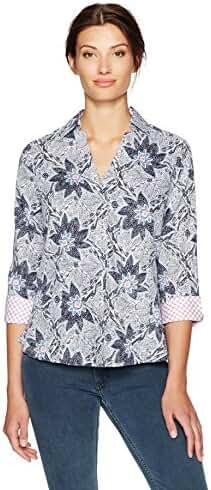 Foxcroft Women's Plus Size Taylor Floral Wrinkle Free Shirt