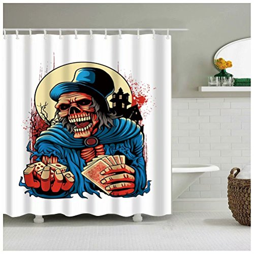 Sea&Cloud Modern Thrilling Design Shower Curtain for Happy Halloween Home Decor,The Monster is Inviting Somebody to Bet to Cheat People in Fact,72wX72h,Bathroom Accessories -